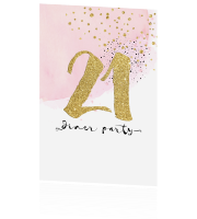Sweet 21 diner uitnodiging aquarel en goud look