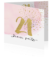 Sweet 21 diner uitnodiging watercolour en goud