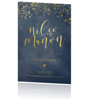 Botanisch chic save the date met écht goud foliedruk