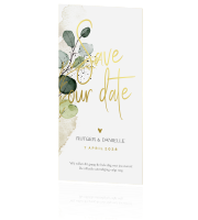 Botanische save our date trouwkaart watercolor tak écht goudfolie