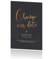 Chique save our date trouwkaart met outline takjes en koperfolie