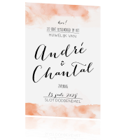 Romantic chic trouwkaart aquarel wedding oranje