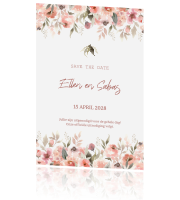 Stijlvolle save the date kaart watercolor bloemen