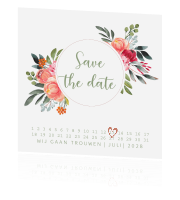 Floral chic save the date kaart bloemen