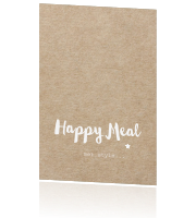 Kerst menukaart kraft print - happy meal