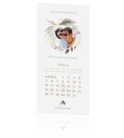 Aquarel bloemen save the date met kalender en eigen foto