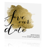 Moderne save our date kaart met goudfolie look