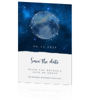 Midnight save our date kaart met sterrenhemel en maan