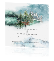 Save the date kerstkaart met boslandschap in aquarel