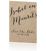 Typografie save the date kaart met karton look