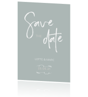 Rustige save the date trouwkaart poeder mint groen