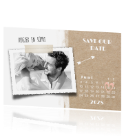 Strand look save our date kaartje met kalender