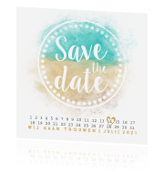 Zomerse save the date kaart met strand look