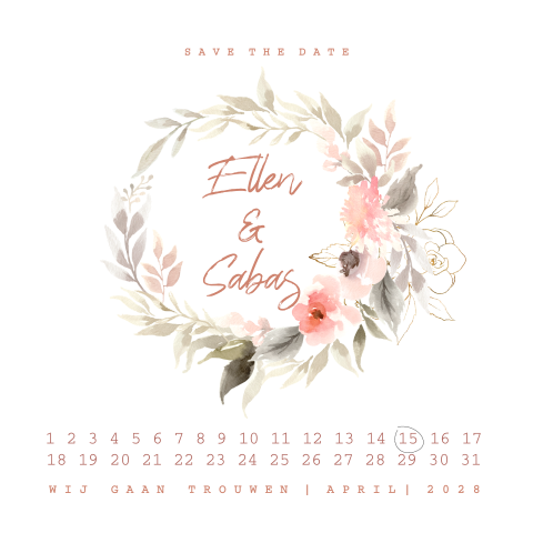 Hippe watercolor bloemen krans save the date agenda