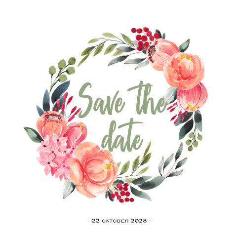 Hippe aquarel bloemen krans save the date uitnodiging