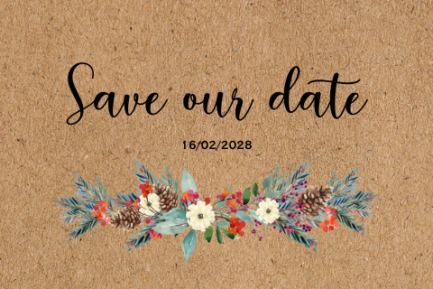 Bonte kraft kerst save the date kaart dennetakken