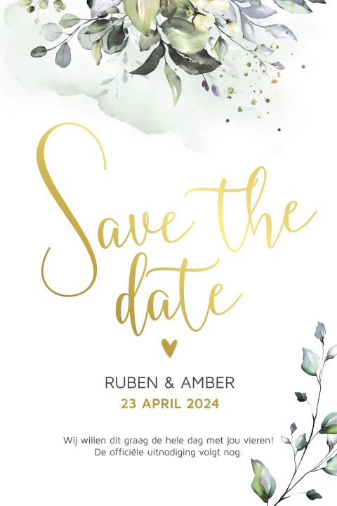 Botanische save the date trouwkaart watercolour takjes écht goudfolie