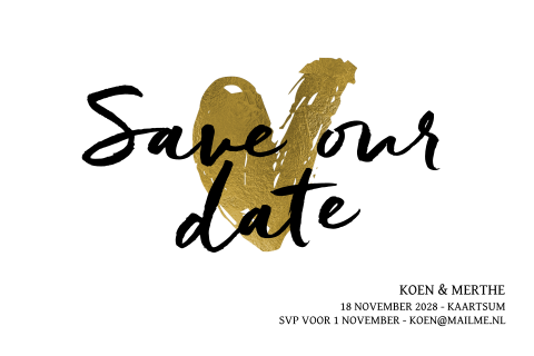 Stijlvolle save our date kaart in zwart wit en goudlook