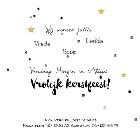 Dubbele fotocollage kerstkaart brush fonts en goud look