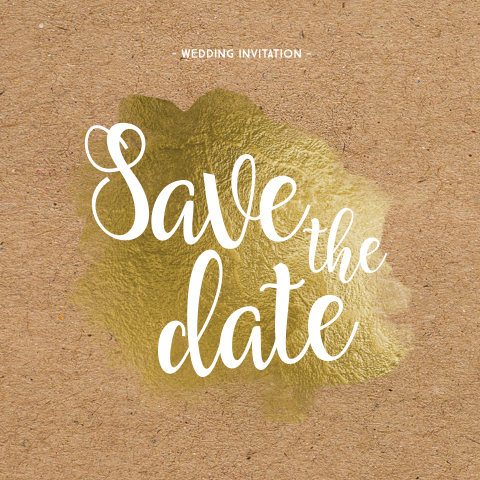 Hippe enkele kraft save the date goud folie verf