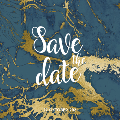Stoere save the date kaart donkerblauw marmer goudfolie look
