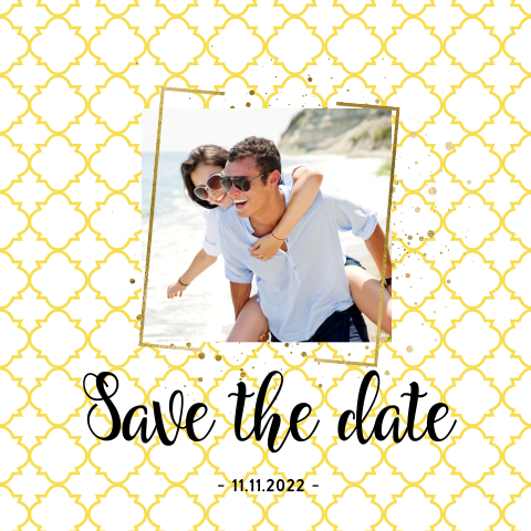Hippe gele enkele foto save the date kaart boho chic