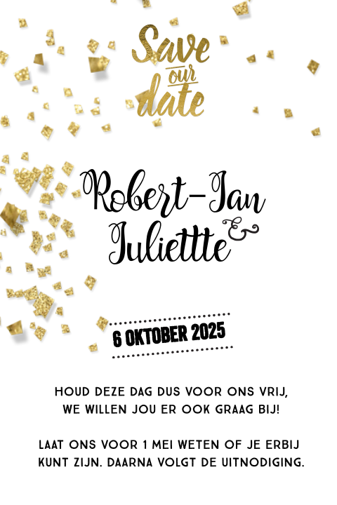 Stijlvolle enkele save our date goud folie letters
