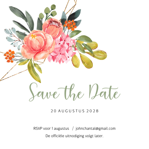 Hippe bloemen krans save the date uitnodiging