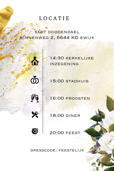 Florral chic trouwkaart olieverf wedding icon