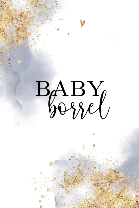 Hip babyshower kaartje met watercolor goud