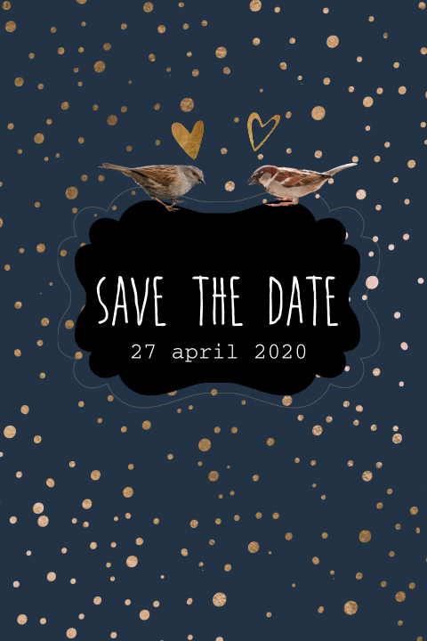 Hippe save the date kaart met koper dots, donkerblauw