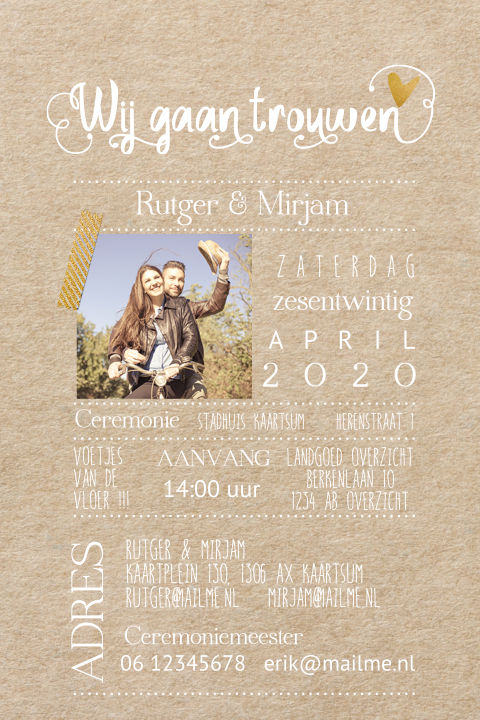 Foto kraft trouwkaart letterpress met goud look
