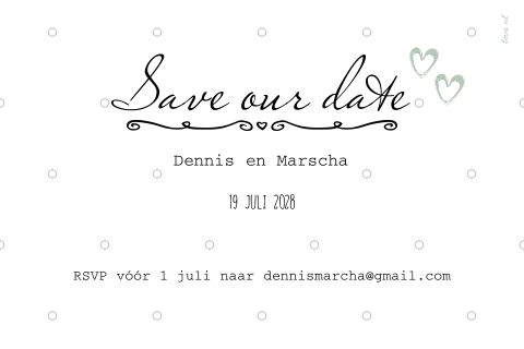 Uniek save the date kaart in wit met kalender en eigen foto