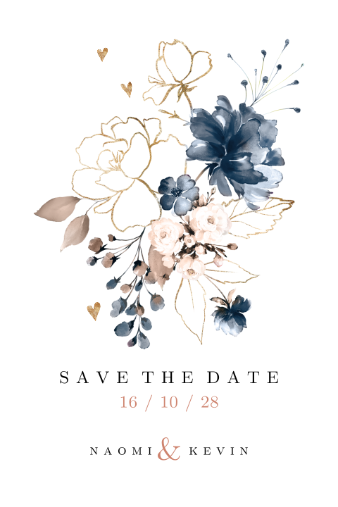 Winterse save the date kaart met blauw en goud look boeket