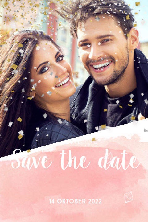 Hippe foto save the date kaart watercolor confetti explosie