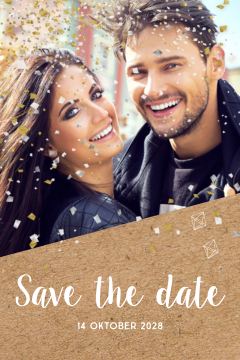 Hippe foto save the date kaart kraft confetti explosie