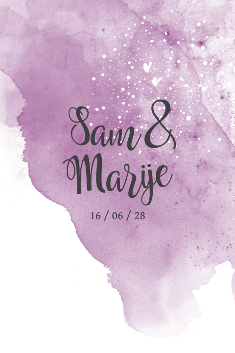 Romantic enkele ultra violet watercolor save our date kaart