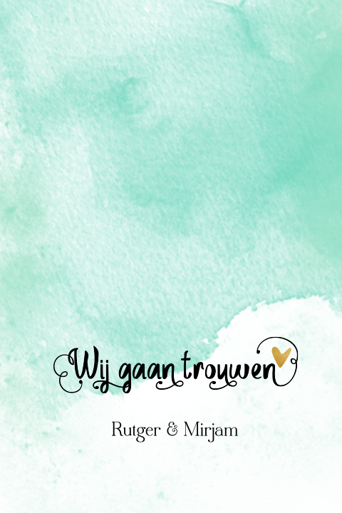 Foto watercolor trouwkaart handlettering met goud look