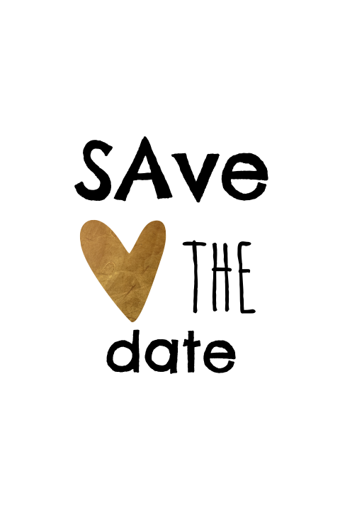 Zwart wit save the date kaart met koper look