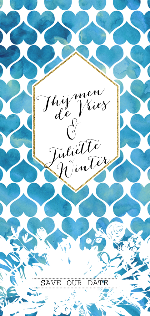 Romantic chic save the date kaart watercolor hartjes