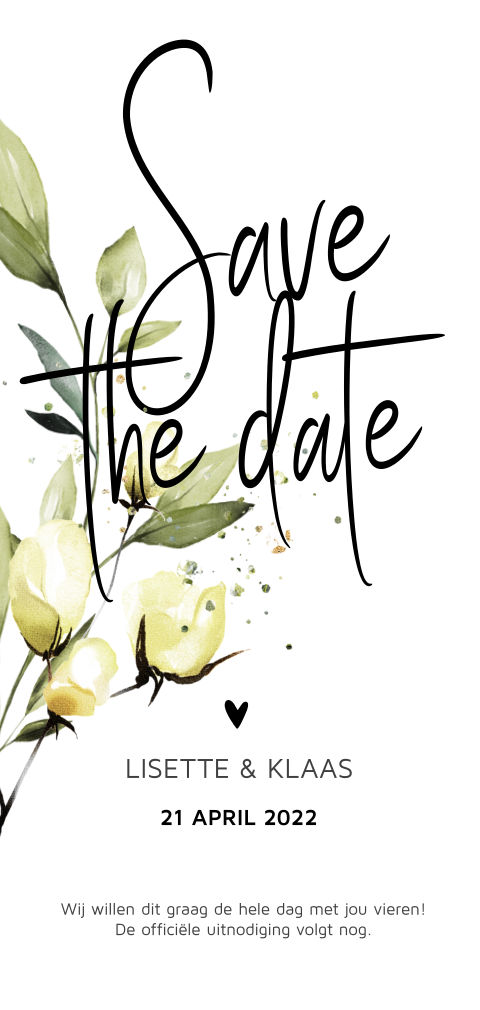 Botanische save the date trouwkaart geel accent
