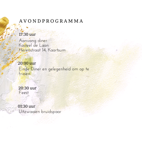 Romantische trouwkaart programma met canvas look
