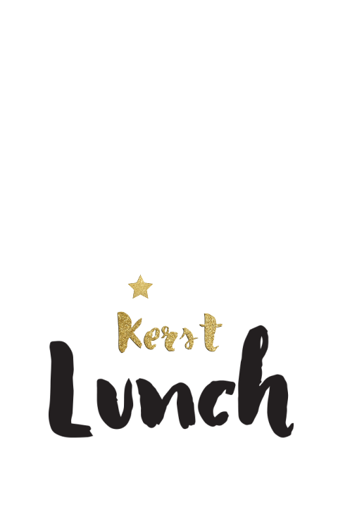 Kerst lunch menukaart goud look en stoere brush