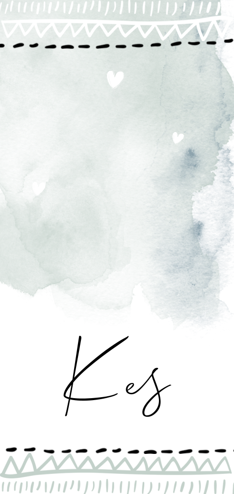 Hip geboortekaartje jongen watercolor brushes en doodles