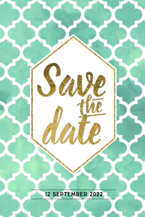 Boho chic save the date kaart watercolor goud