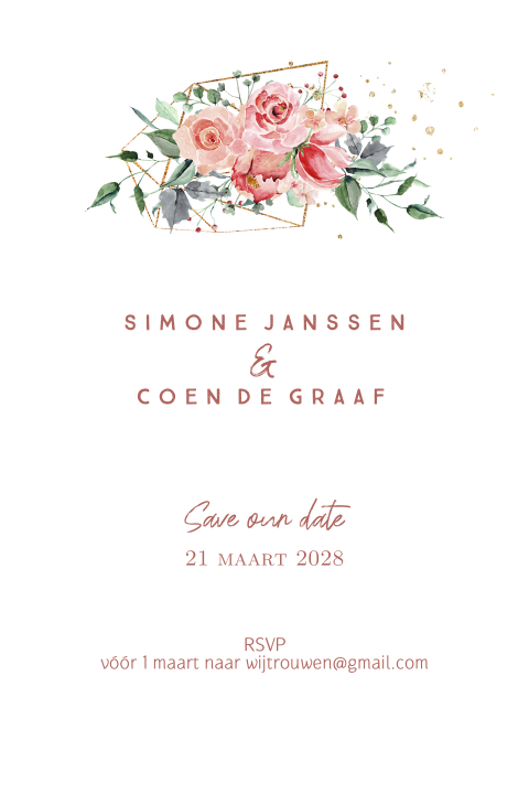 Industrail romance save the date kaart met bonte bloemen