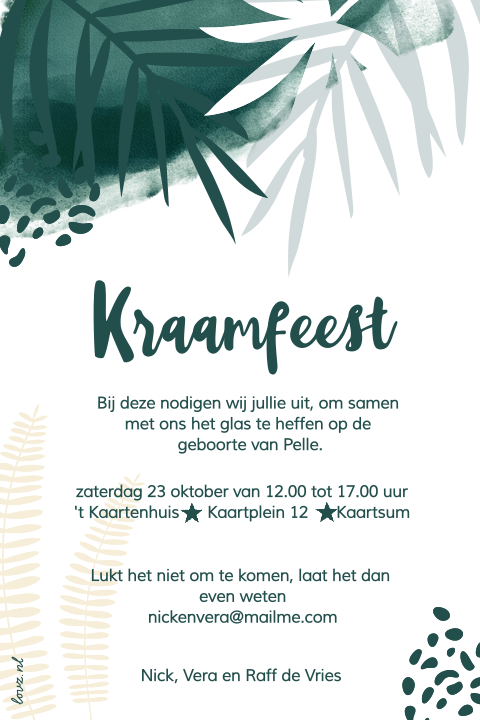Jungle look uitnodiging kraamfeest