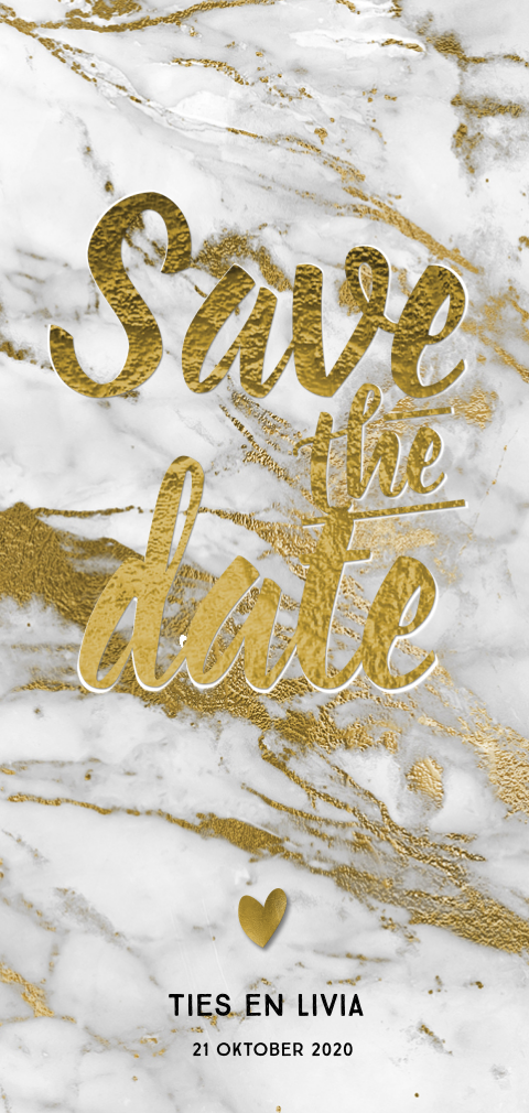 Hippe save the date marmer grijs met goudfolie look