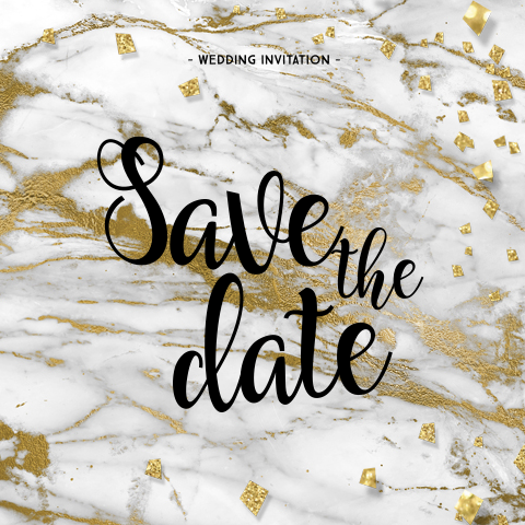 Hippe save the date kaart marmer goudfolie en confetti
