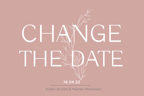 Minimalistische change the date tak en rose